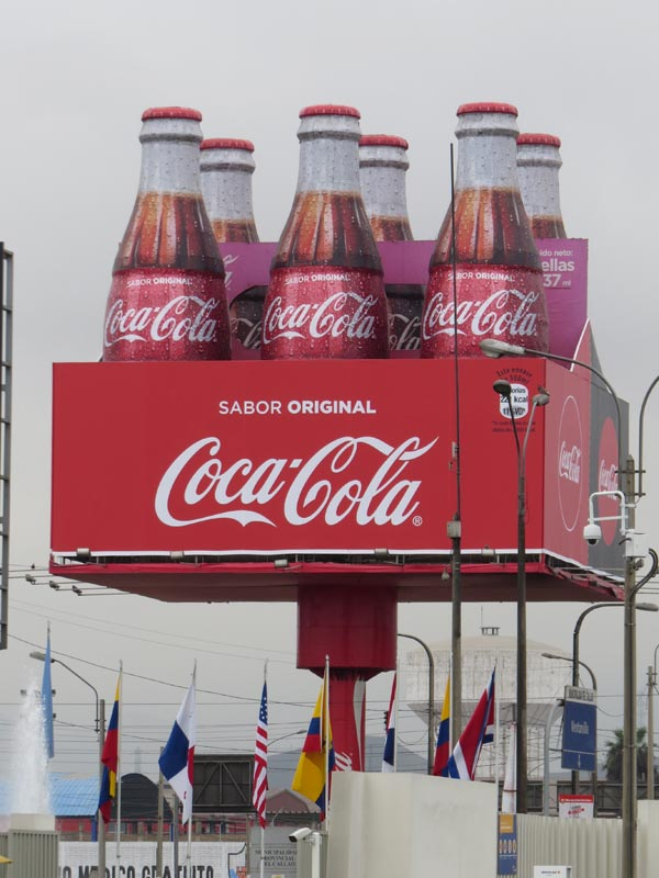 Coca Cola is widely displayed and promoted in Morocco.